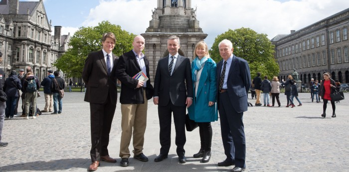 Trinity College Dublin's Provost, Prof. Patrick Prendergast greets Dr. Tim Conley, the first James M. Flaherty Visiting Professor in TCD. From left to right; James Kelly (ICUF CEO), Dr. Tim Conley, Prof. Prendergast,  Amanda Hopkins (ICUF Programme Manager), Dr. John Kelly (ICUF Trustee)