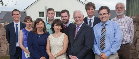 Minister for State for the Gaeltacht Dinny McGinley TD, picuted with a number of the 2013-14 Teagascóirí, Jackie Ellis (Embassy of Canada), James Kelly (ICUF) and Padraig de Bhaldraithe (ICUF)