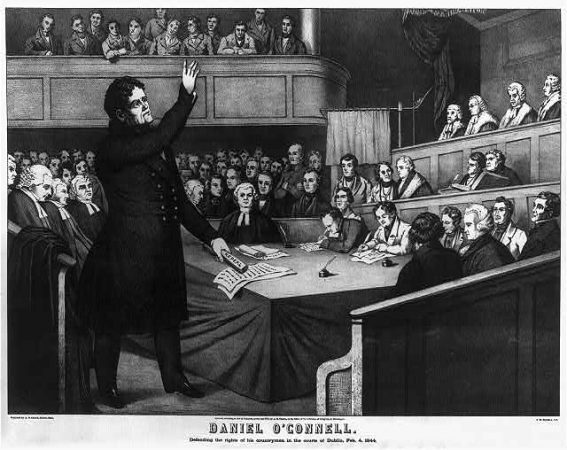 """Daniel O'Connell defending the rights of his countrymen in the courts of Dublin, Feb. 4, 1844."" Lithograph of Irish political leader Daniel O'Connell (1775-1847). Print shows Daniel O'Connell arguing for the repeal of the Act of Union (image courtesy of US Library of Congress)"