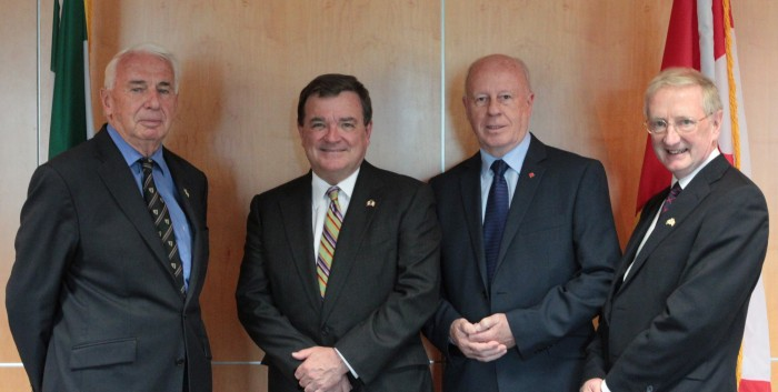 Pictured left to right: Prof. John Kelly, Executive Director ICUF, Minister Jim Flaherty, Ambassador Loyola Hearn, Prof. Seamus Smyth, Chairman ICUF.