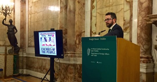"""James M. Flaherty Visiting Professor, Dr Beaulac, giving his keynote address at Iveagh House on: """"Brexit: legal views from Canada and Ireland""""."""