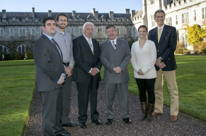 Pictured, left to right: Jeremy Gault - Director, Coastal Marine and Research Centre, Euan Thomson - Dobbin Scholar (University of Alberta), Prof. John Kelly - Executive Director, ICUF, Dr. Michael Murphy - President, UCC , Dr. Erin Joakim - Dobbin Scholar (University of Waterloo) and Dr. Douwe Van Sinderen, Associate Professor, UCC.